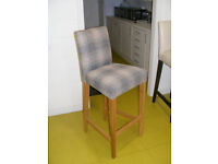 Bar stool for kitchen or dining room, beautiful tartan fabric and light oak legs