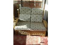 Conservatory wicker chairs- wicker sofa and 2 armchairs