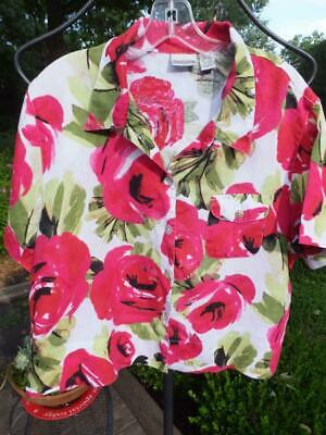 CHICO'S Pink Tropical Print SS Linen Camp Shirt Sz 3 or XL   Cute! - Tropical Print Camp-shirt