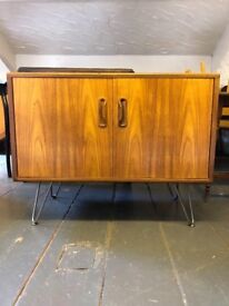 G Plan Retro Media/Drinks/Storage Cabinet in Teak on Bare Steel Hairpin Legs. Mid Century Chic