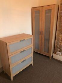 Ikea Brimnes 2 door wardrobe and 3 door chest of drawers - good condition £20 each