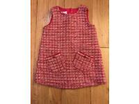 TED BAKER girls winter pinafore dress 9-12 months