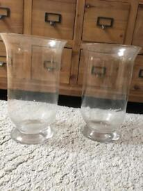 2 clear glass hurricane candle holders display vases