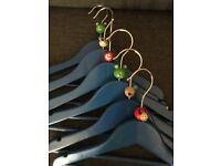 6 wooden children's hangers