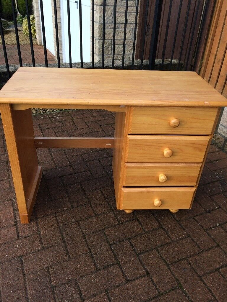 Small Desk With 4 Drawer Set In Solid Wood