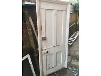 Victorian back door and frame with original door furniture included