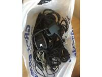 Bag of wires, cables, power supply's and computer mice