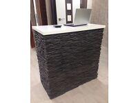 High desk white & dark grey stone cladding