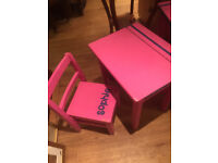 Girls wooden pink desk and Chair £30 desk size L 18 in D 14 in H 20 in