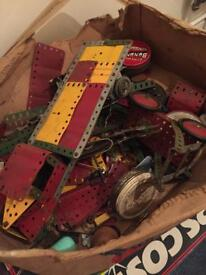 Vintage Meccano with working clock work motor