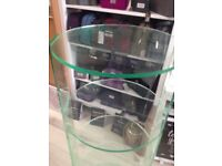 Circular acrylic perspex retail display shelf unit. 5 shelves for shop stall