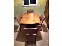 Rare, Vintage, Beautility Walnut Extendable Dinning Table & 4 Chairs. With Removable Tea Table.