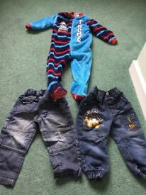 Thomas tank engine fleece onesie sleep suit age 18-24 months plus one pair jeans