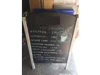 A0 Pavement Sign Board Premium Metal Frame Wood Heavy Duty Retail Restaurant