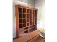 Large wooden shop shelving unit