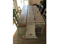 Old farmhouse solid table. Can be sold with chairs or on its own