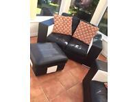 Leather settee / sofa suite / set