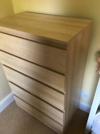 Chest drawers with bedside table, pine effect