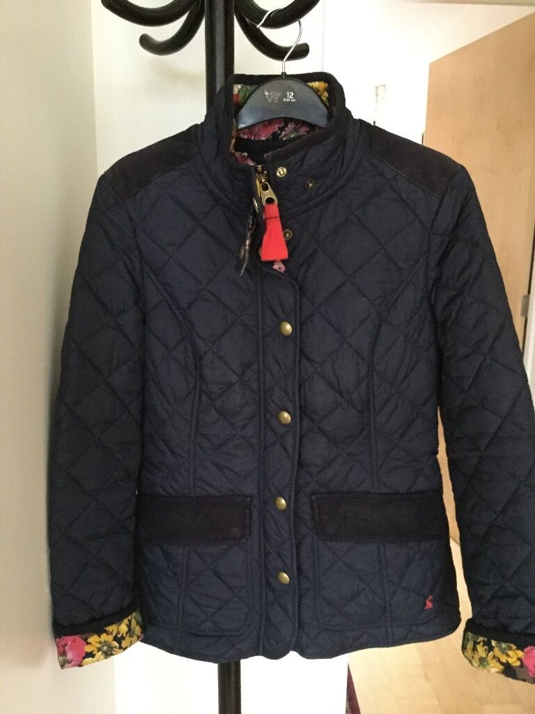 Joules Navy Quilted Coat With Floral Lining Size 8 In Norwich