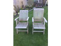 Pair of Teak Reclining Garden Chairs