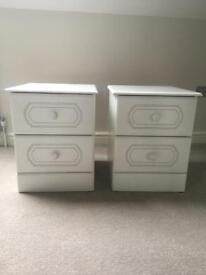 White Wooden Pair of Bedside Cabinets