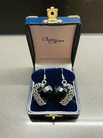 Beautiful Black Vintage Silver Heart Art Deco Dangly Retro Statement Antique Earrings Jewellery Gift