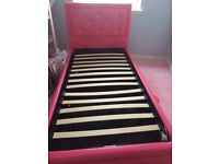 Kids storage bed pink diamonties