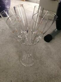 Flutes in glass bucket