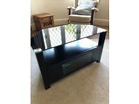 Black Wood & Glass Corner TV Stand with shelf and covered storage area