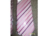mens pink striped ties- 5 brand new in packet