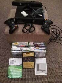Xbox 360 kinect + 17 games + battery recharge pack