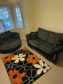DFS sofa, cuddle chair and footstool