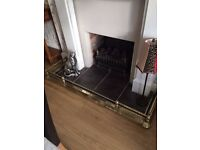 Antique Solid Brass Extendable Fireplace Fender