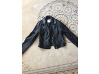Girl's black leather jacket (14-15yrs)