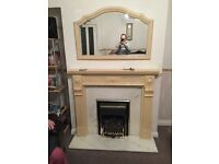 Cream Marble Fire Place and Mirror
