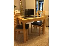 Small Light Oak Dining Table & 2 chairs