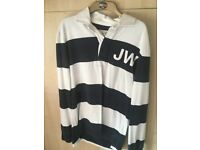 Jack Wills Navy and White Stripy Rugby Polo Shirt - Medium