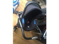 Silver cross pram, mossive basket and baby station