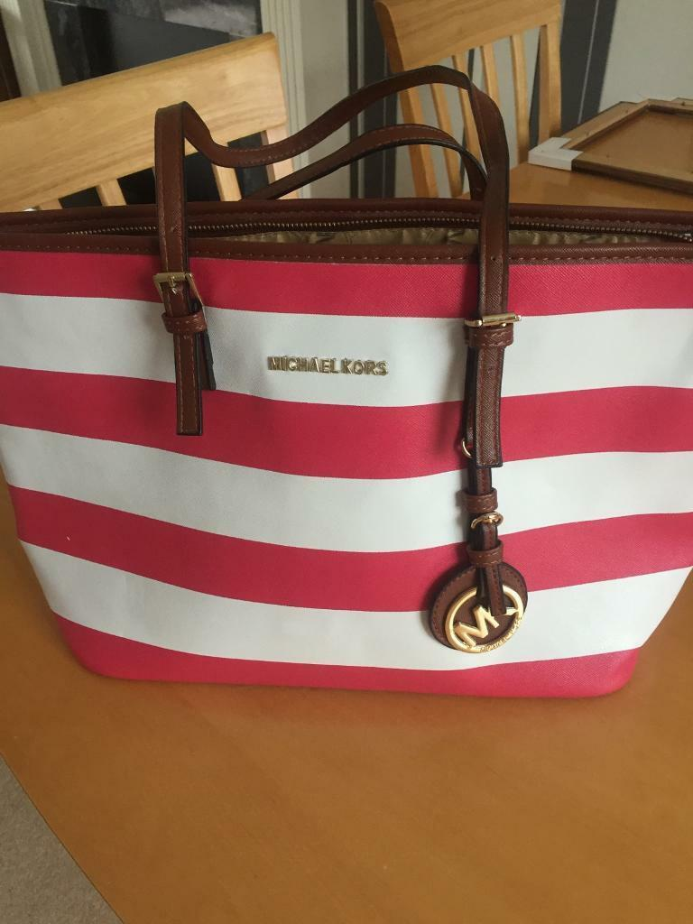 Michael Kors pink and white stripe handbag   in Llandaff, Cardiff ... a6a9371fd4