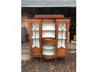 Antique Edwardian mahogany display cabinet * free furniture delivery*