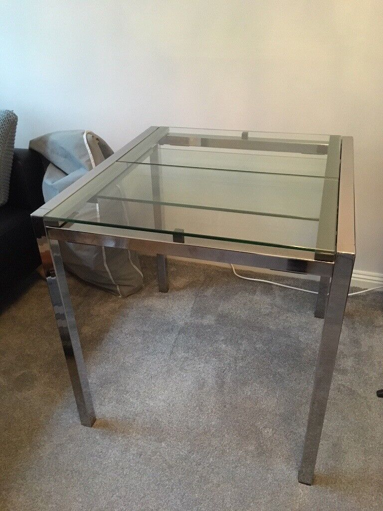 Ikea Glivarp Extendable Glass Chrome Dining Table Now