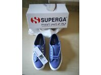 Superga Cotu Classic Blue Velvet Trainers Size 4 Brand new with Box