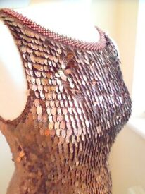 Ladies Sequinned Top Size 2 (S/M), Bronze/Coppery Colour