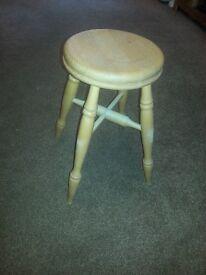 Pine stool. bare beech. shabby chic