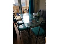 Art deco Glass Dining Table & 6 chairs