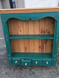 Display cabinet - wall hanging. Waxed pine display cabinet with cute little spice drawers
