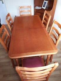 Teak Extending Dining Table And Six Chairs For Quick Sale