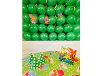 Birthday party decorations- balloons, cake toppers, caps, goody bags, swirls etc (dinosaur theme)