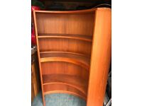 3 shelf curved book case with lights