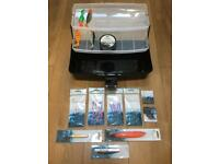 Fish Hooks, Line & Tackle Box - New